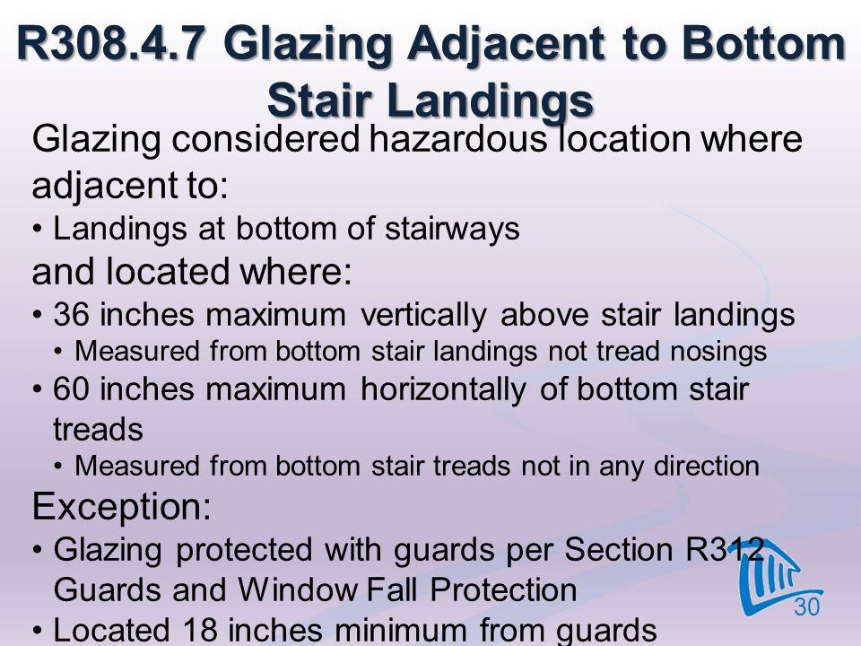 R308.4.7 Glazing Adjacent to Bottom Stair Landings Glazing considered hazardous location where adjacent to: Landings at bottom of stairways and locate