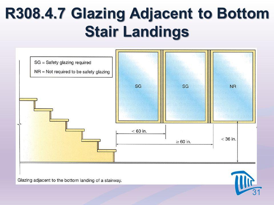 R308.4.7 Glazing Adjacent to Bottom Stair Landings 31
