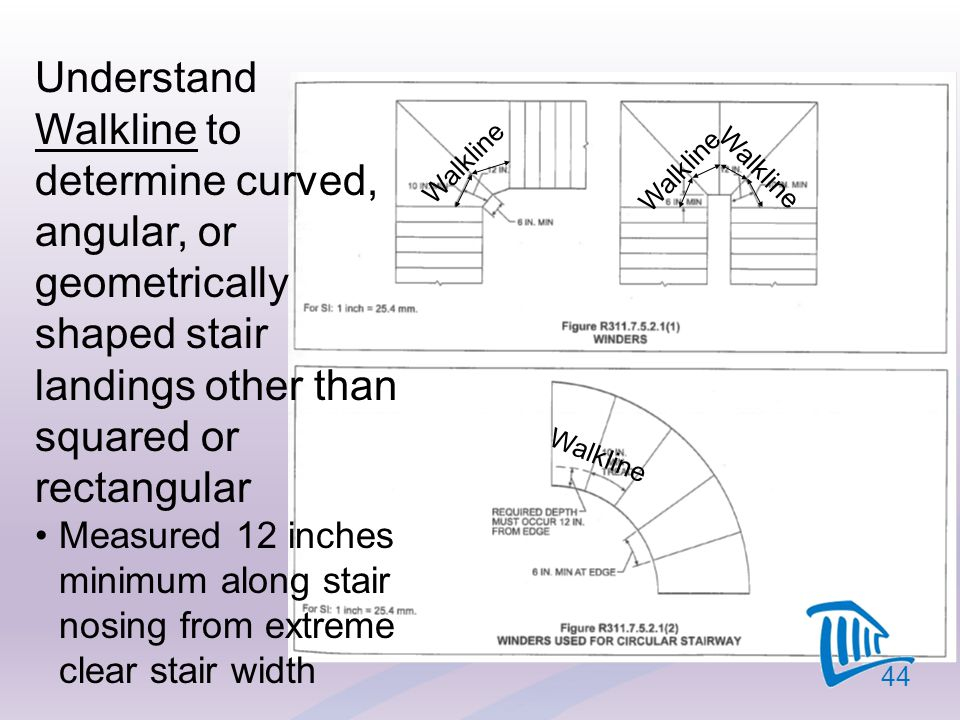 Understand Walkline to determine curved, angular, or geometrically shaped stair landings other than squared or rectangular Measured 12 inches minimum