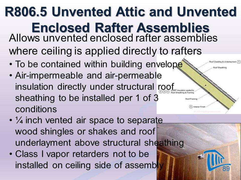 Allows unvented enclosed rafter assemblies where ceiling is applied directly to rafters 89 R806.5 Unvented Attic and Unvented Enclosed Rafter Assembli