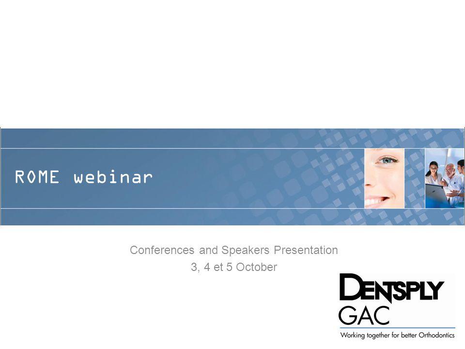ROME webinar Conferences and Speakers Presentation 3, 4 et 5 October