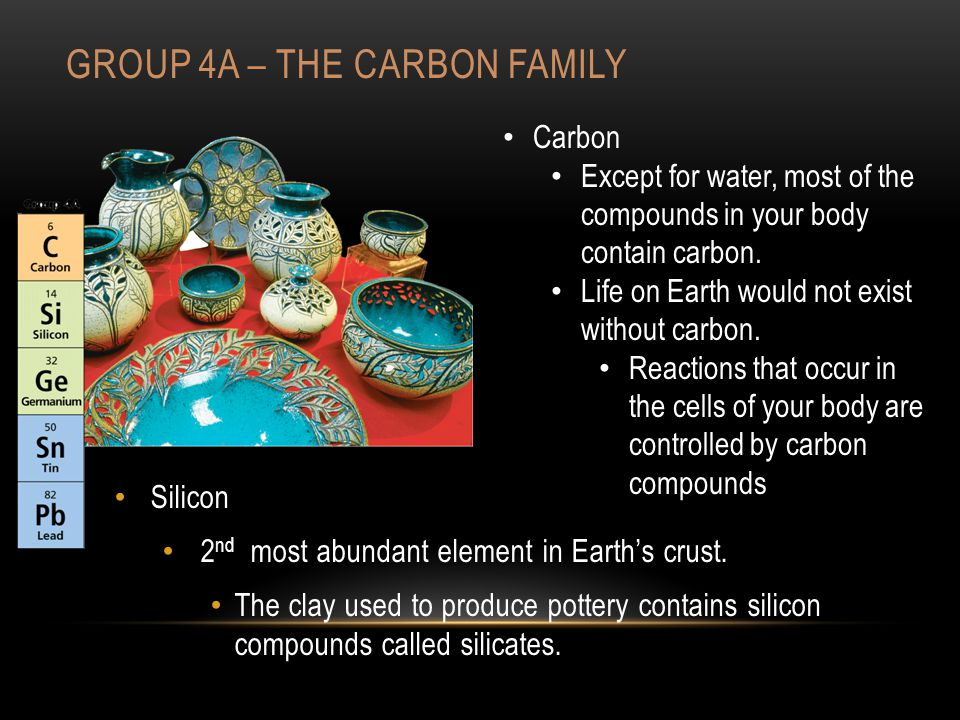 GROUP 4A – THE CARBON FAMILY Silicon 2 nd most abundant element in Earth's crust.