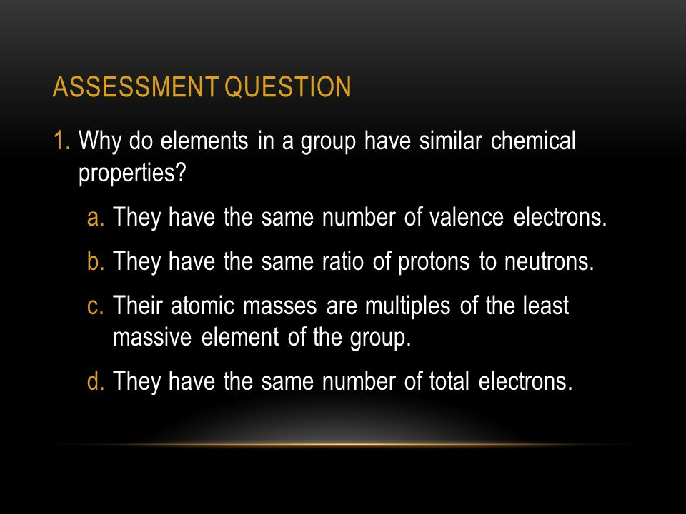 ASSESSMENT QUESTION 1.Why do elements in a group have similar chemical properties.