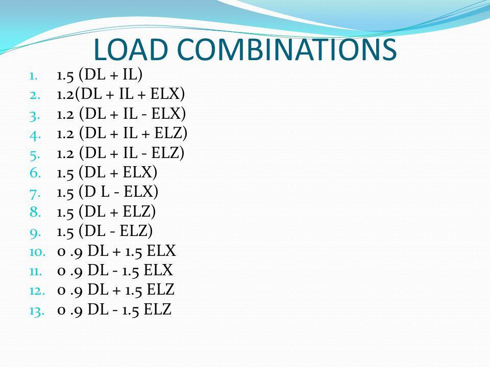 LOAD COMBINATIONS 1. 1.5 (DL + IL) 2. 1.2(DL + IL + ELX) 3. 1.2 (DL + IL - ELX) 4. 1.2 (DL + IL + ELZ) 5. 1.2 (DL + IL - ELZ) 6. 1.5 (DL + ELX) 7. 1.5