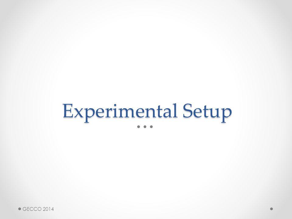Experimental Setup GECCO 2014