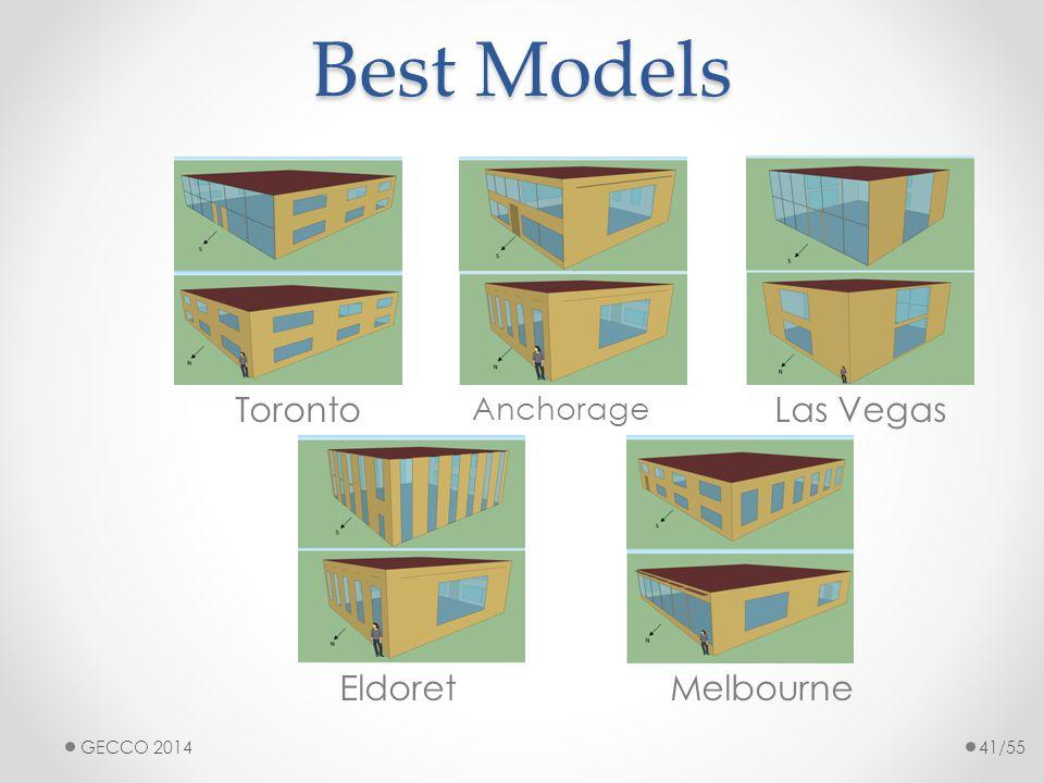 Best Models Toronto Anchorage Las Vegas EldoretMelbourne GECCO 201441/55