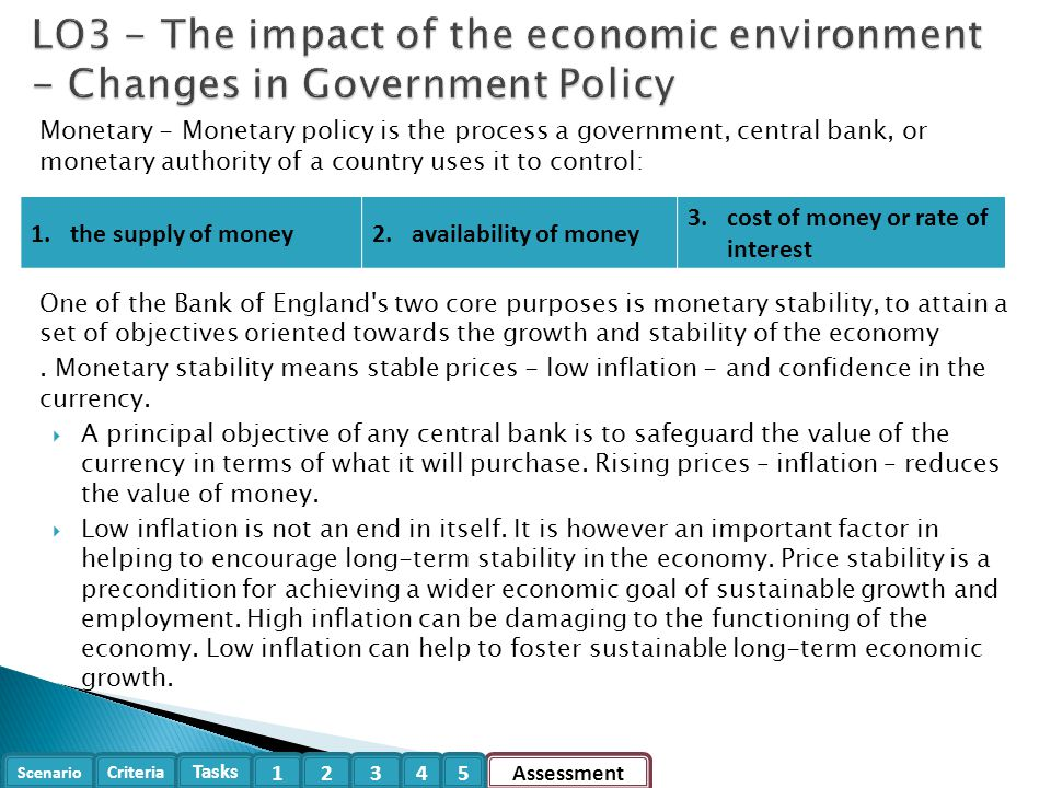 Scenario Criteria Tasks Assessment12345 Monetary - Monetary policy is the process a government, central bank, or monetary authority of a country uses