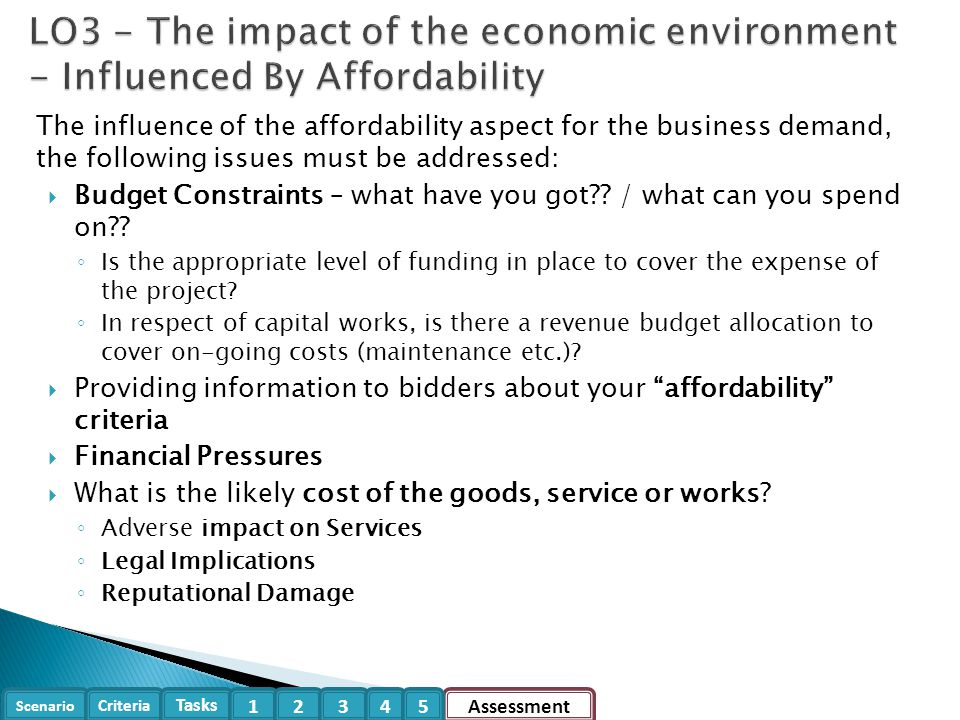 Scenario Criteria Tasks Assessment12345 The influence of the affordability aspect for the business demand, the following issues must be addressed:  B