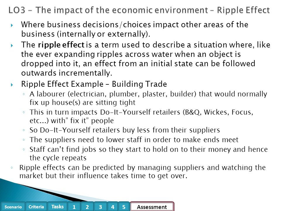 Scenario Criteria Tasks Assessment12345  Where business decisions/choices impact other areas of the business (internally or externally).  The ripple