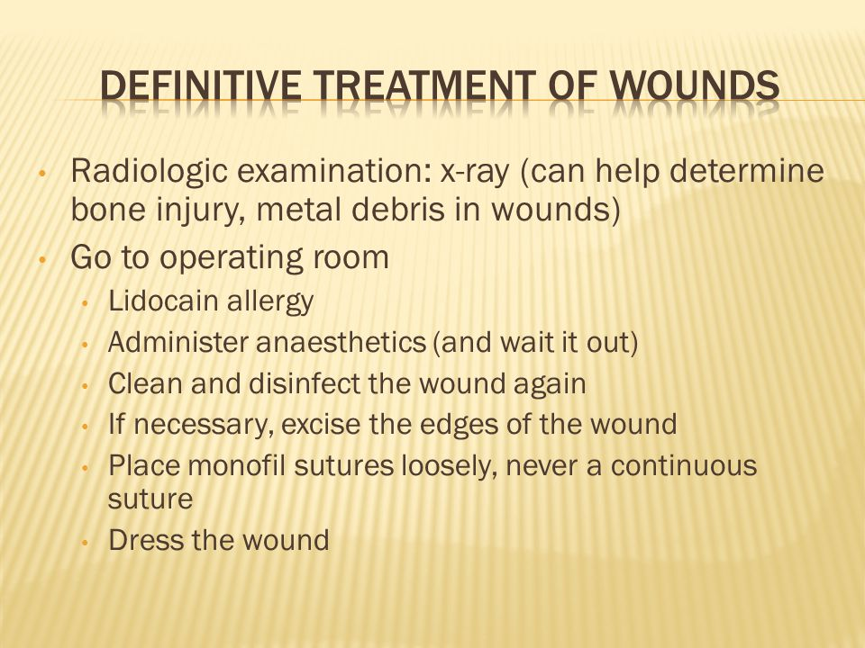 Radiologic examination: x-ray (can help determine bone injury, metal debris in wounds) Go to operating room Lidocain allergy Administer anaesthetics (and wait it out) Clean and disinfect the wound again If necessary, excise the edges of the wound Place monofil sutures loosely, never a continuous suture Dress the wound