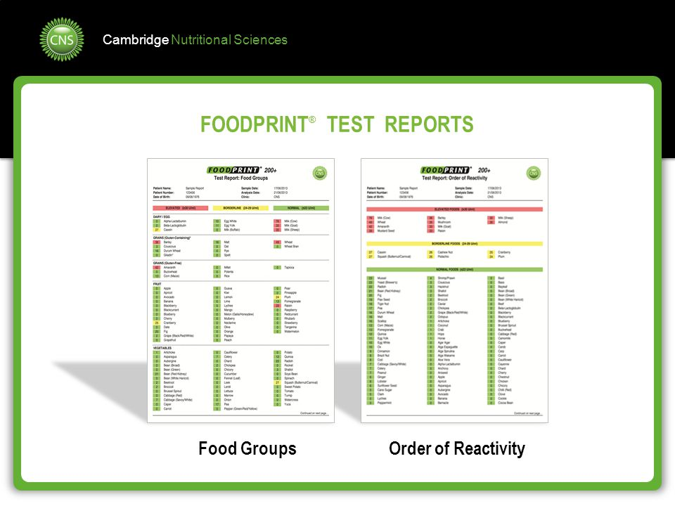 Cambridge Nutritional Sciences FOODPRINT ® TEST REPORTS Food GroupsOrder of Reactivity