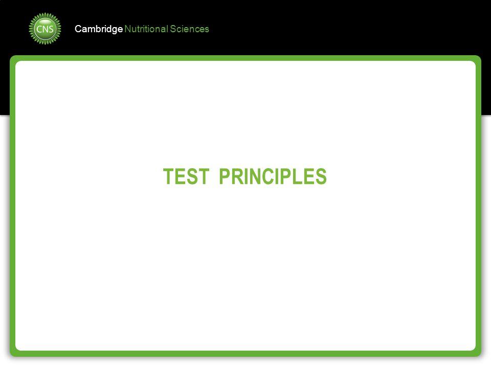 Cambridge Nutritional Sciences TEST PRINCIPLES