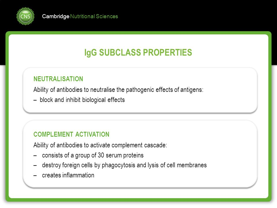 Cambridge Nutritional Sciences IgG SUBCLASS PROPERTIES NEUTRALISATION Ability of antibodies to neutralise the pathogenic effects of antigens: – block