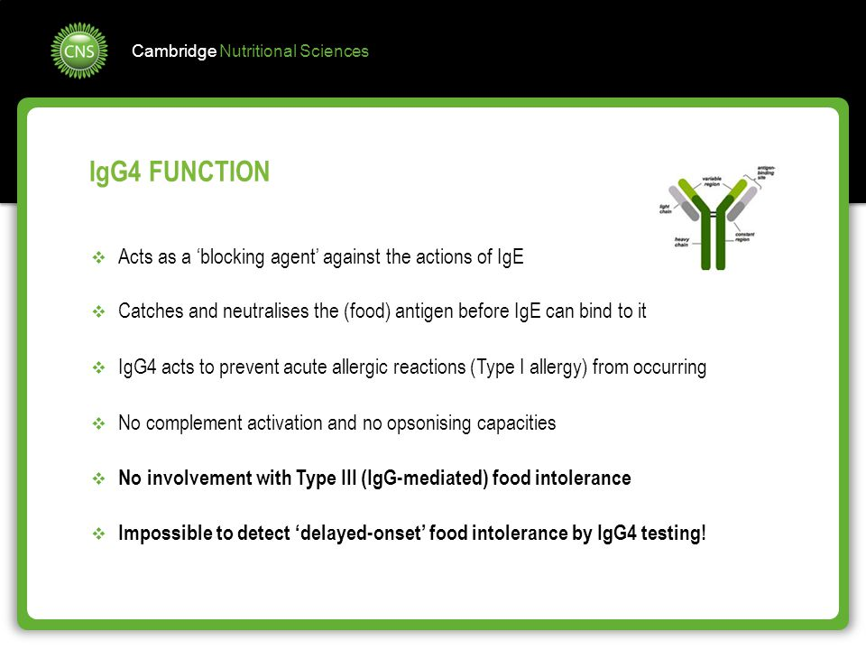Cambridge Nutritional Sciences IgG4 FUNCTION  Acts as a 'blocking agent' against the actions of IgE  Catches and neutralises the (food) antigen befo
