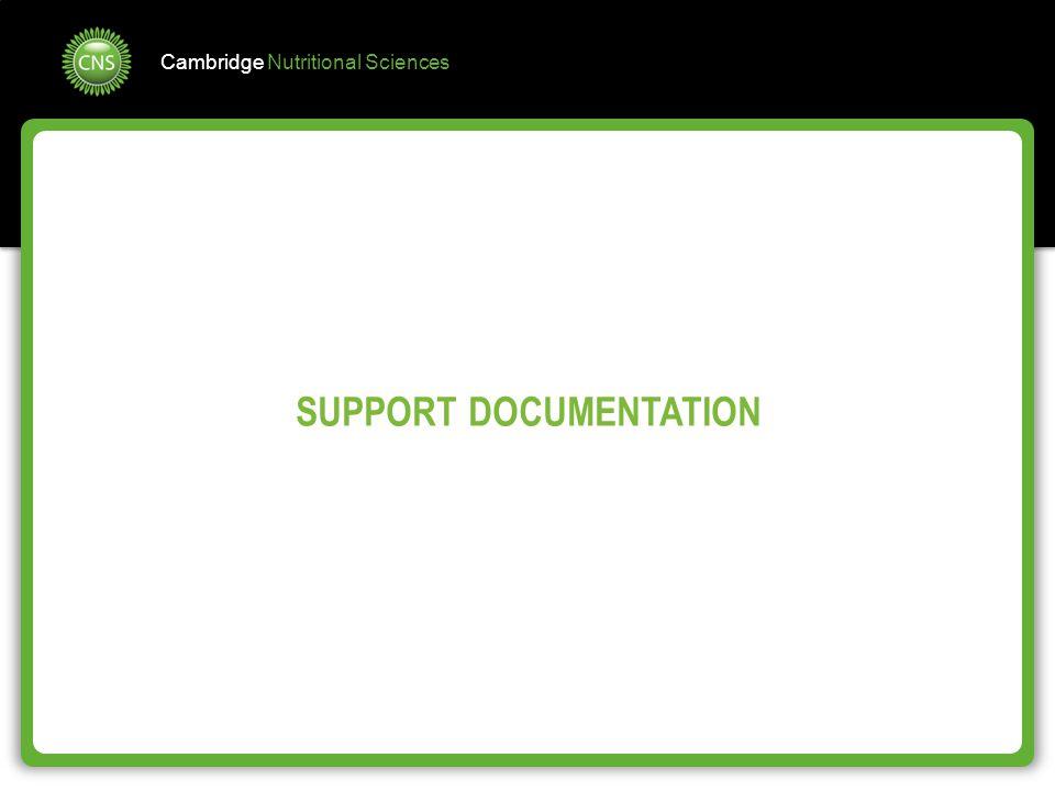 Cambridge Nutritional Sciences SUPPORT DOCUMENTATION