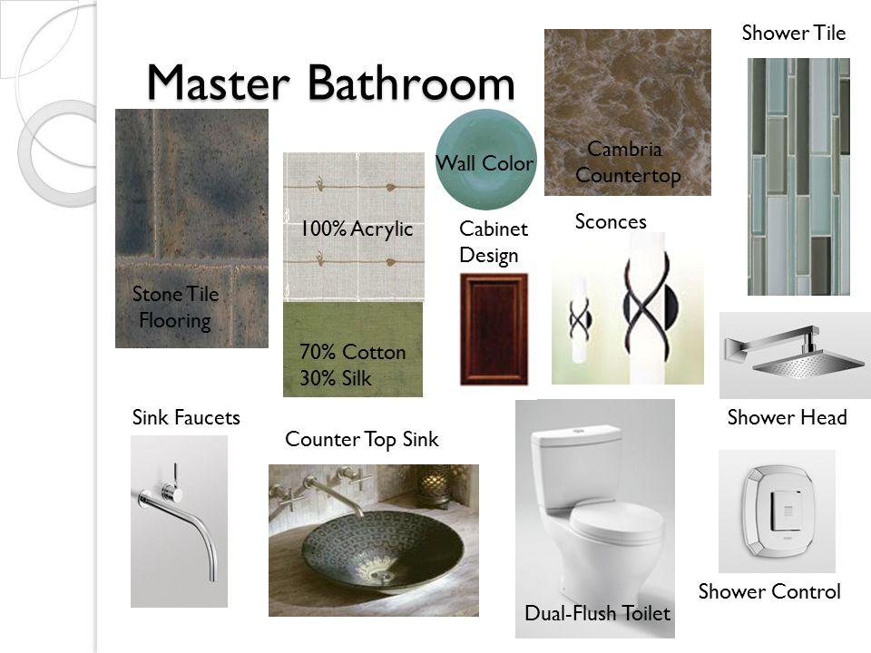 Master Bathroom 70% Cotton 30% Silk Stone Tile Flooring 100% Acrylic Cambria Countertop Shower Tile Cabinet Design Wall Color Dual-Flush Toilet Counter Top Sink Sink Faucets Sconces Shower Head Shower Control