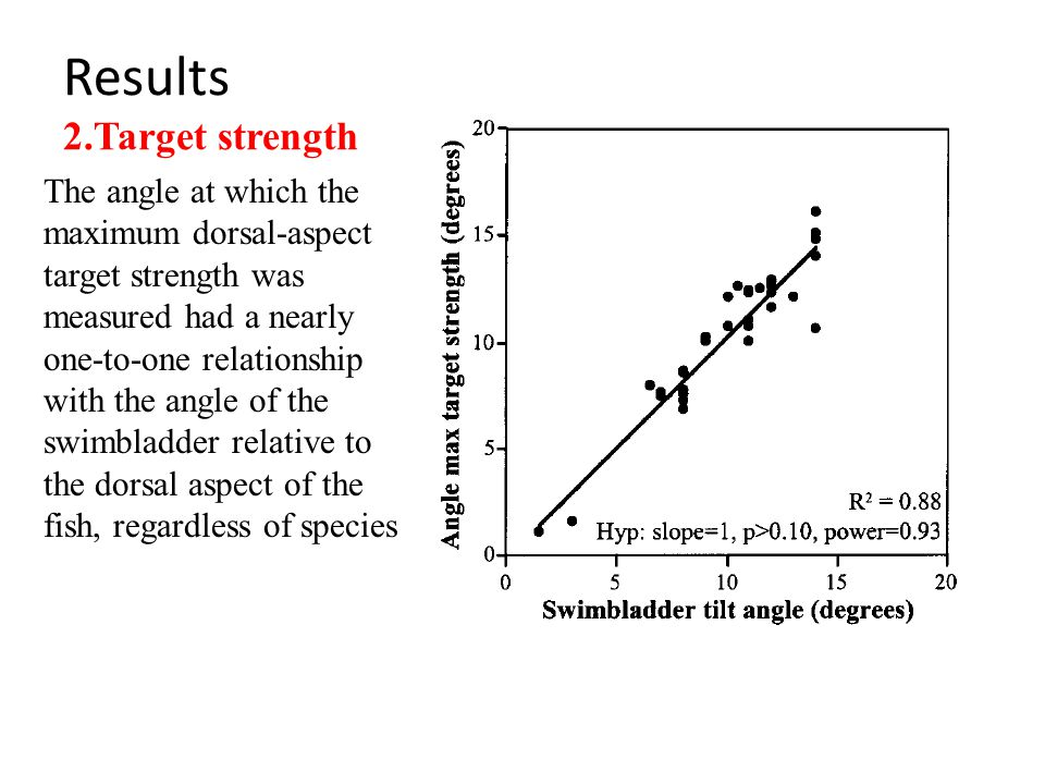 Results 2.Target strength The angle at which the maximum dorsal-aspect target strength was measured had a nearly one-to-one relationship with the angle of the swimbladder relative to the dorsal aspect of the fish, regardless of species