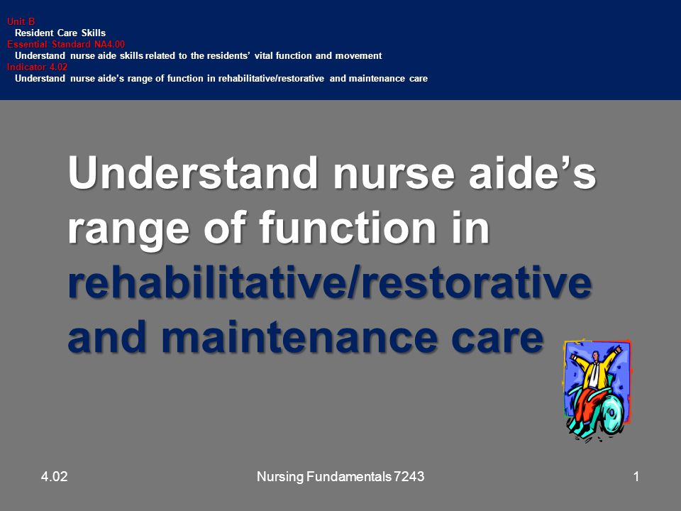 Understand nurse aide's range of function in rehabilitative/restorative and maintenance care Unit B Resident Care Skills Resident Care Skills Essential Standard NA4.00 Understand nurse aide skills related to the residents' vital function and movement Understand nurse aide skills related to the residents' vital function and movement Indicator 4.02 Understand nurse aide's range of function in rehabilitative/restorative and maintenance care Understand nurse aide's range of function in rehabilitative/restorative and maintenance care 14.02Nursing Fundamentals 7243