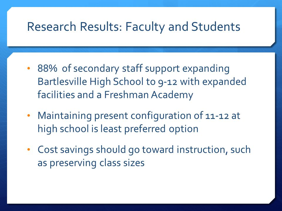 Research Results: Faculty and Students 88% of secondary staff support expanding Bartlesville High School to 9-12 with expanded facilities and a Freshman Academy Maintaining present configuration of 11-12 at high school is least preferred option Cost savings should go toward instruction, such as preserving class sizes