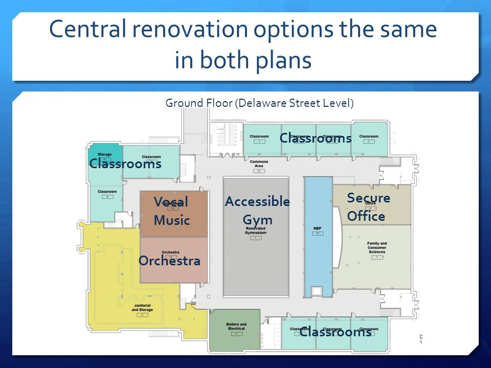 Central renovation options the same in both plans Ground Floor (Delaware Street Level) Accessible Gym Secure Office Vocal Music Orchestra Classrooms