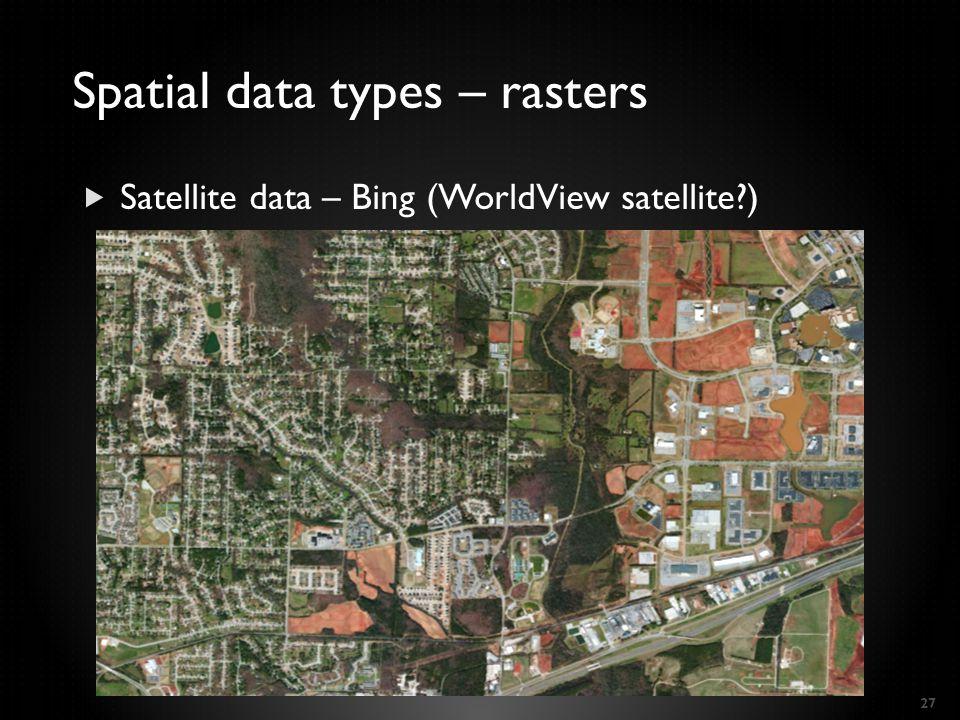  Satellite data – Bing (WorldView satellite ) 27 Spatial data types – rasters