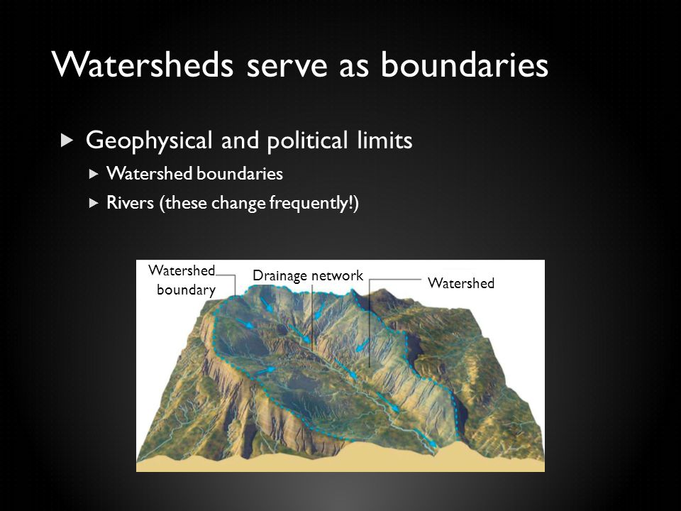 Watersheds serve as boundaries  Geophysical and political limits  Watershed boundaries  Rivers (these change frequently!) Watershed boundary Draina