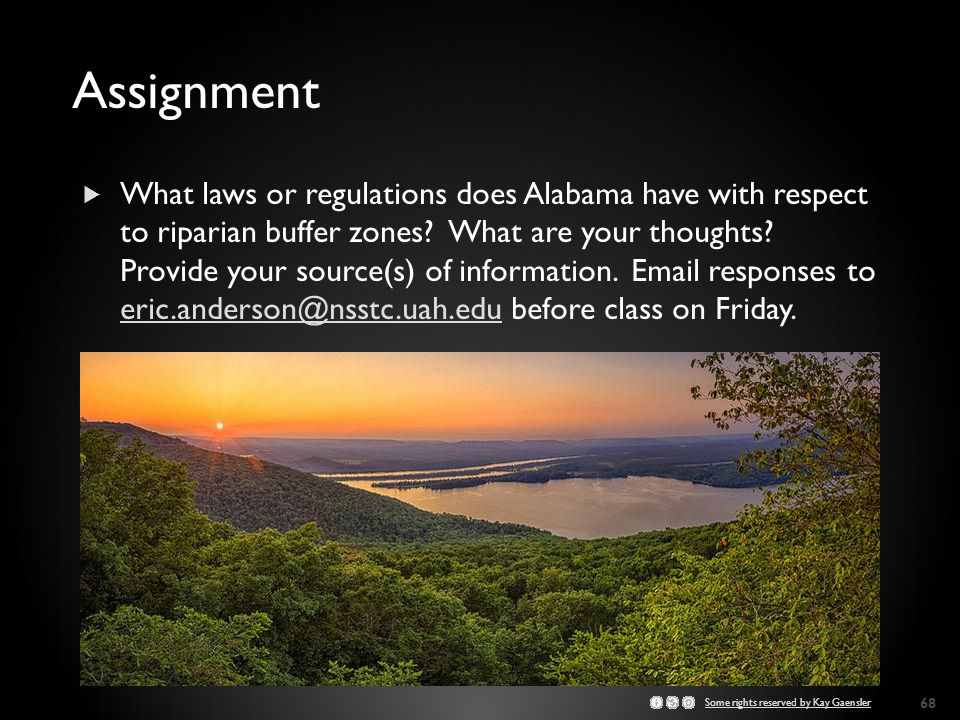 Assignment  What laws or regulations does Alabama have with respect to riparian buffer zones.