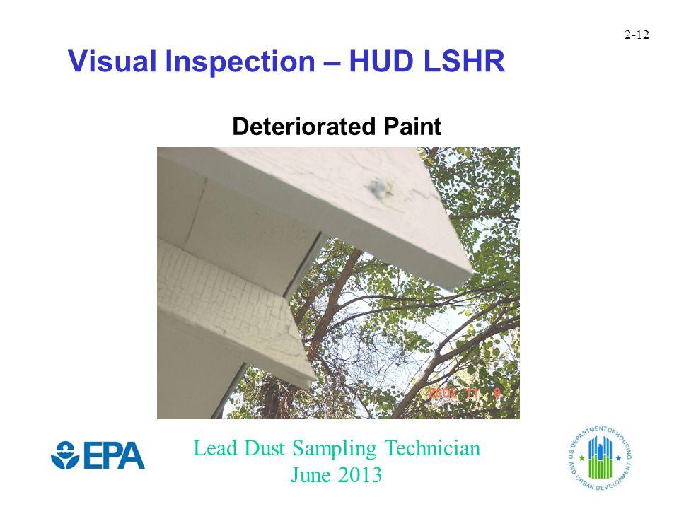Lead Dust Sampling Technician June 2013 2-12 Visual Inspection – HUD LSHR Deteriorated Paint
