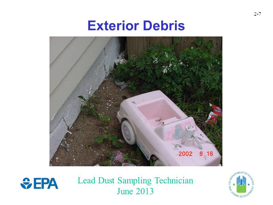 Lead Dust Sampling Technician June 2013 2-7 Exterior Debris