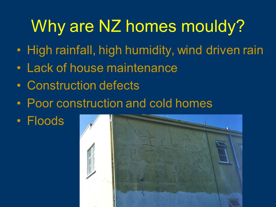 House condition survey (Branz 2005) Deferred maintenance of $4500 per house for house components rated as poor to serious Extrapolated to a national maintenance deficient to $4.5 billion Yet on average NZers spend less than $1300pa on home maintenance Need to build in tolerances and resilience for lack of maintenance