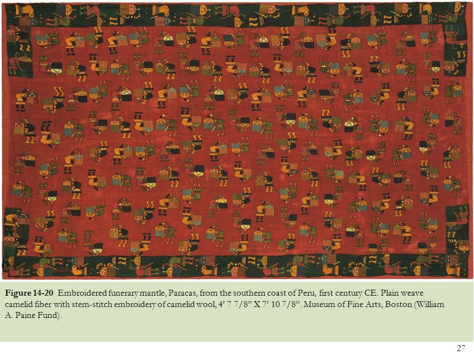 27 Figure 14-20 Embroidered funerary mantle, Paracas, from the southern coast of Peru, first century CE. Plain weave camelid fiber with stem-stitch em
