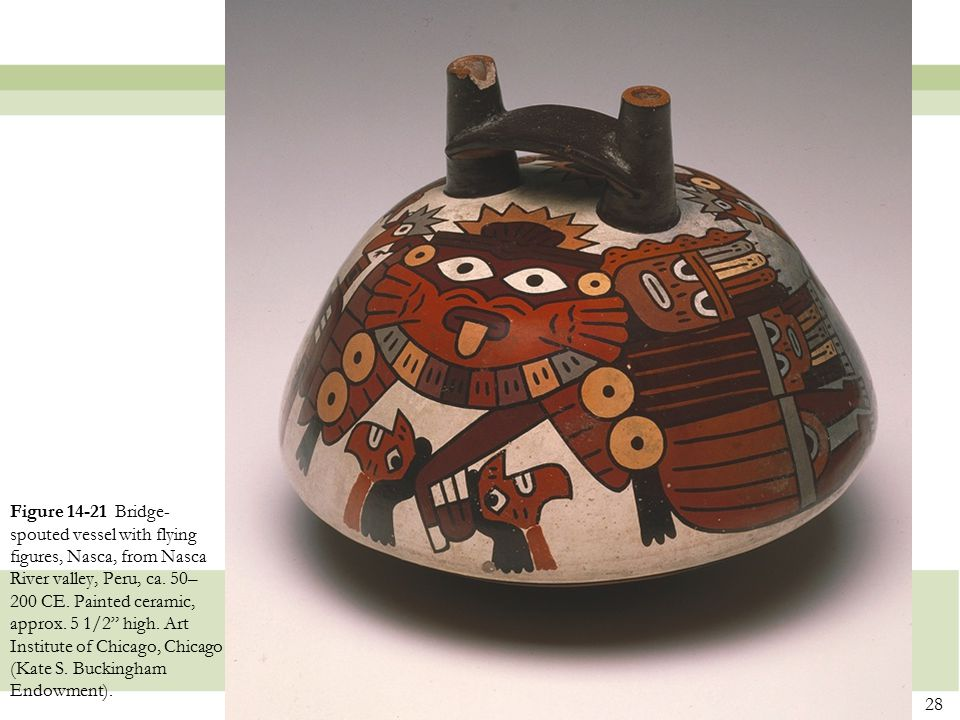 """28 Figure 14-21 Bridge- spouted vessel with flying figures, Nasca, from Nasca River valley, Peru, ca. 50– 200 CE. Painted ceramic, approx. 5 1/2"""" high"""