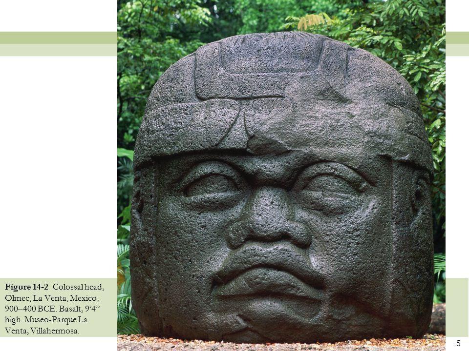 """5 Figure 14-2 Colossal head, Olmec, La Venta, Mexico, 900–400 BCE. Basalt, 9'4"""" high. Museo-Parque La Venta, Villahermosa."""