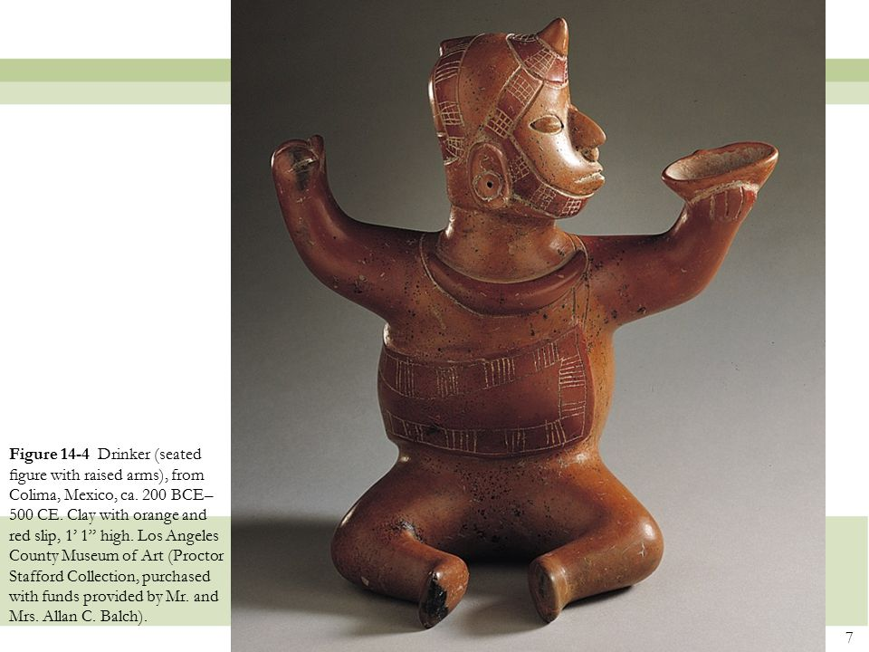 """7 Figure 14-4 Drinker (seated figure with raised arms), from Colima, Mexico, ca. 200 BCE– 500 CE. Clay with orange and red slip, 1' 1"""" high. Los Angele"""