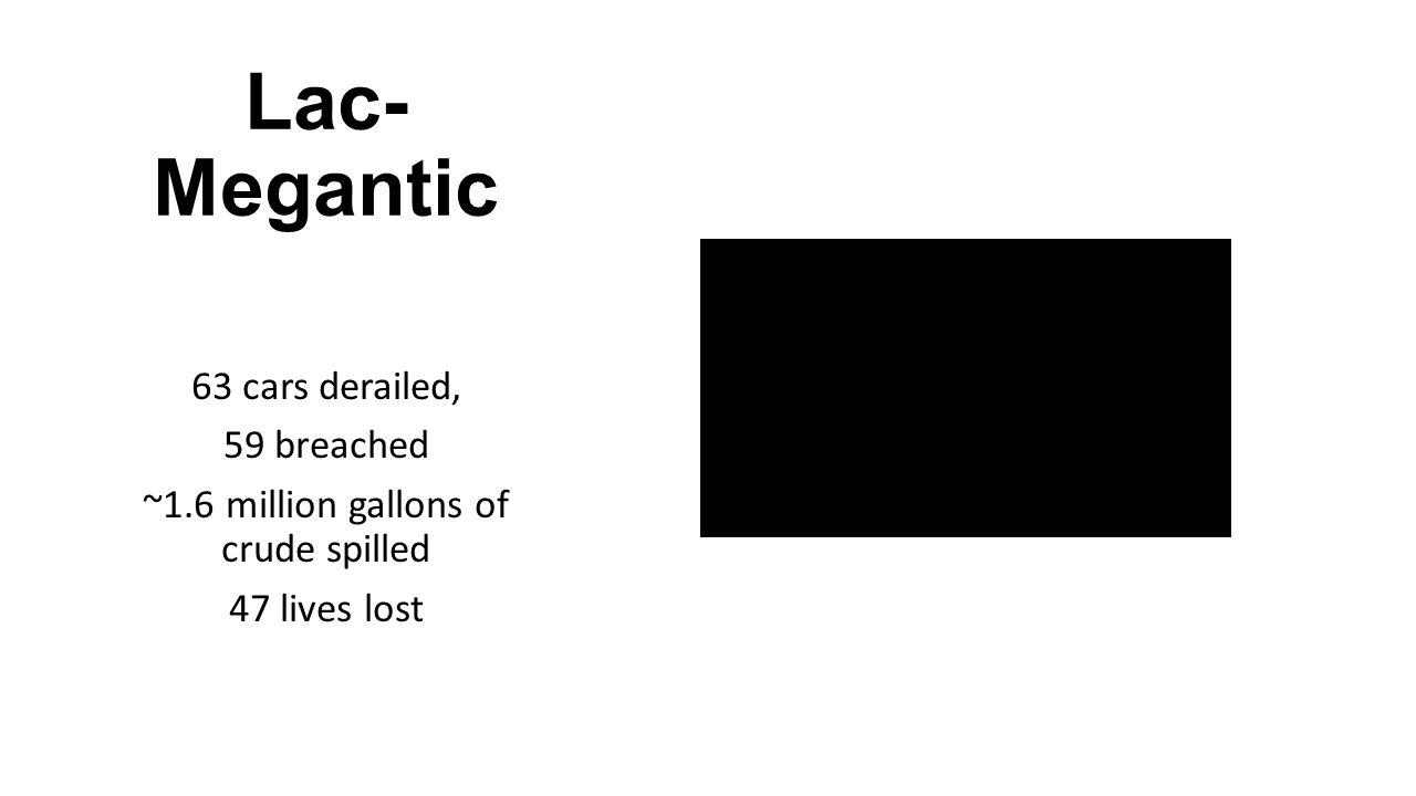 Lac- Megantic 63 cars derailed, 59 breached ~1.6 million gallons of crude spilled 47 lives lost