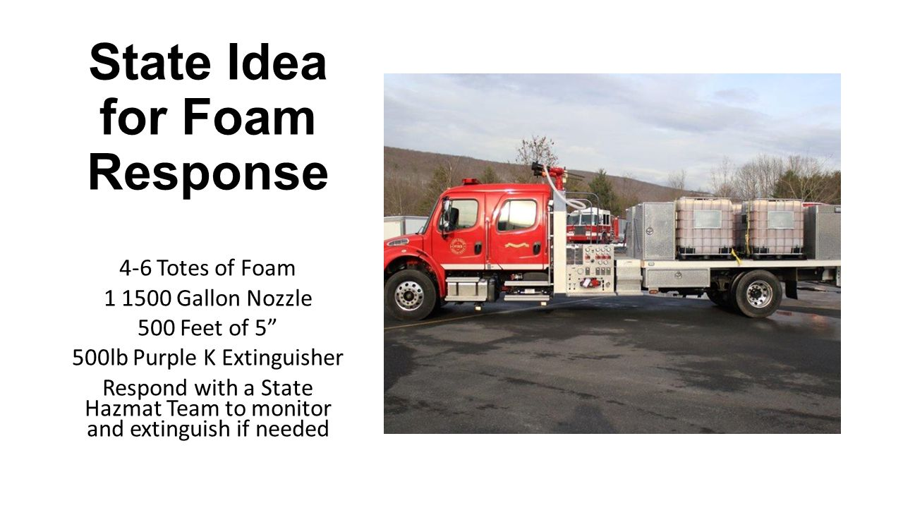 State Idea for Foam Response 4-6 Totes of Foam 1 1500 Gallon Nozzle 500 Feet of 5 500lb Purple K Extinguisher Respond with a State Hazmat Team to monitor and extinguish if needed