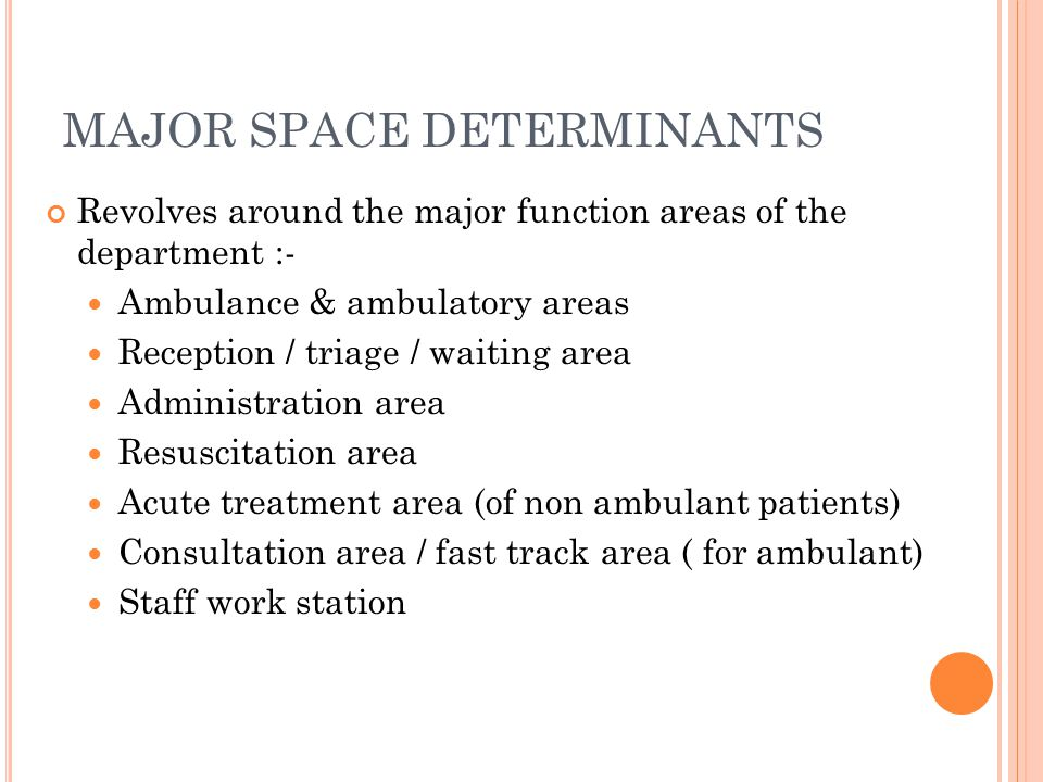 MAJOR SPACE DETERMINANTS Revolves around the major function areas of the department :- Ambulance & ambulatory areas Reception / triage / waiting area Administration area Resuscitation area Acute treatment area (of non ambulant patients) Consultation area / fast track area ( for ambulant) Staff work station