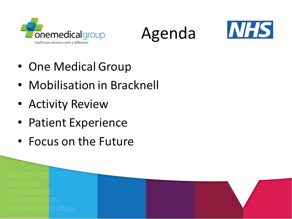 Agenda One Medical Group Mobilisation in Bracknell Activity Review Patient Experience Focus on the Future