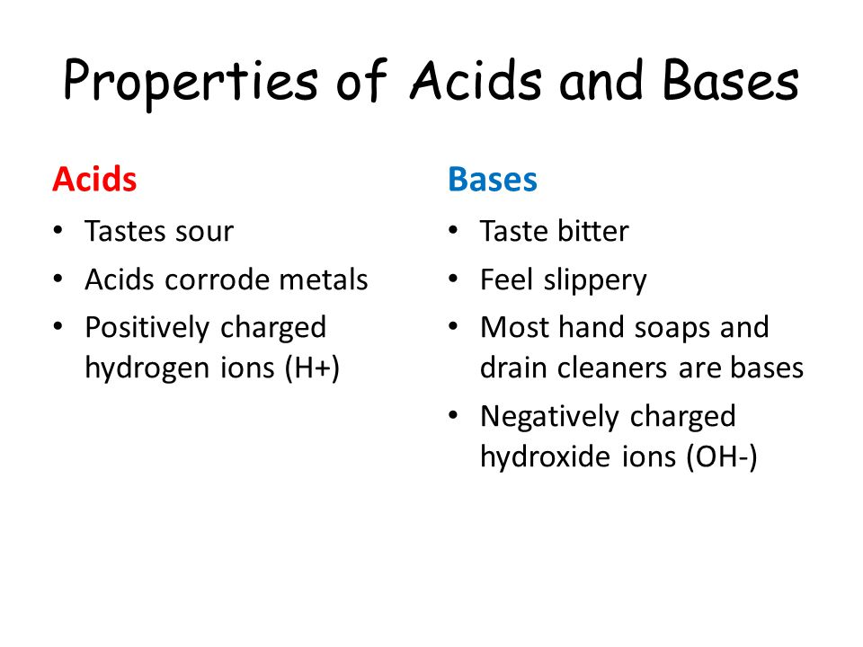 Properties of Acids and Bases Acids Tastes sour Acids corrode metals Positively charged hydrogen ions (H+) Bases Taste bitter Feel slippery Most hand