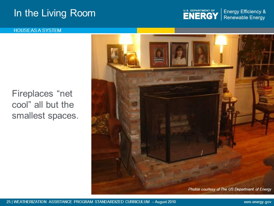 25 | WEATHERIZATION ASSISTANCE PROGRAM STANDARDIZED CURRICULUM – August 2010eere.energy.gov Fireplaces net cool all but the smallest spaces.