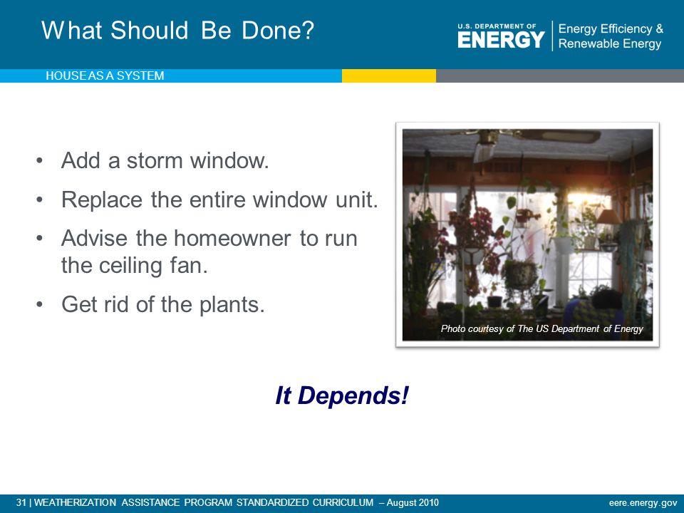 31 | WEATHERIZATION ASSISTANCE PROGRAM STANDARDIZED CURRICULUM – August 2010eere.energy.gov What Should Be Done.