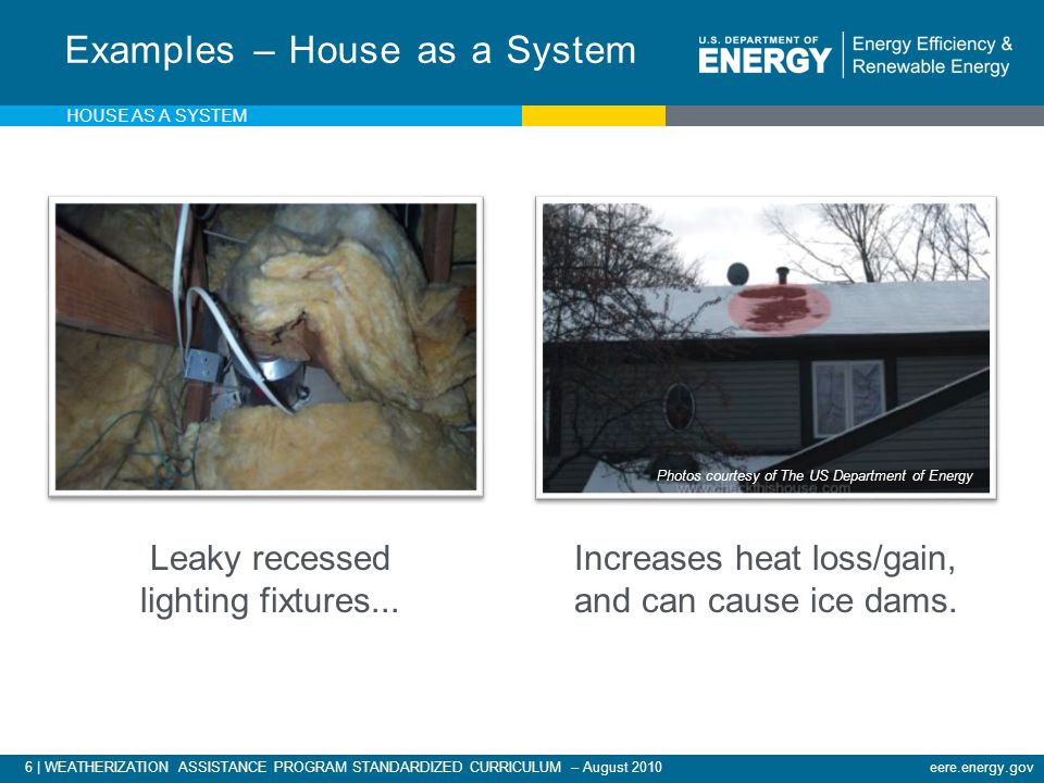 17 | WEATHERIZATION ASSISTANCE PROGRAM STANDARDIZED CURRICULUM – August 2010eere.energy.gov Under the Tub HOUSE AS A SYSTEM Photos courtesy of The US Department of Energy