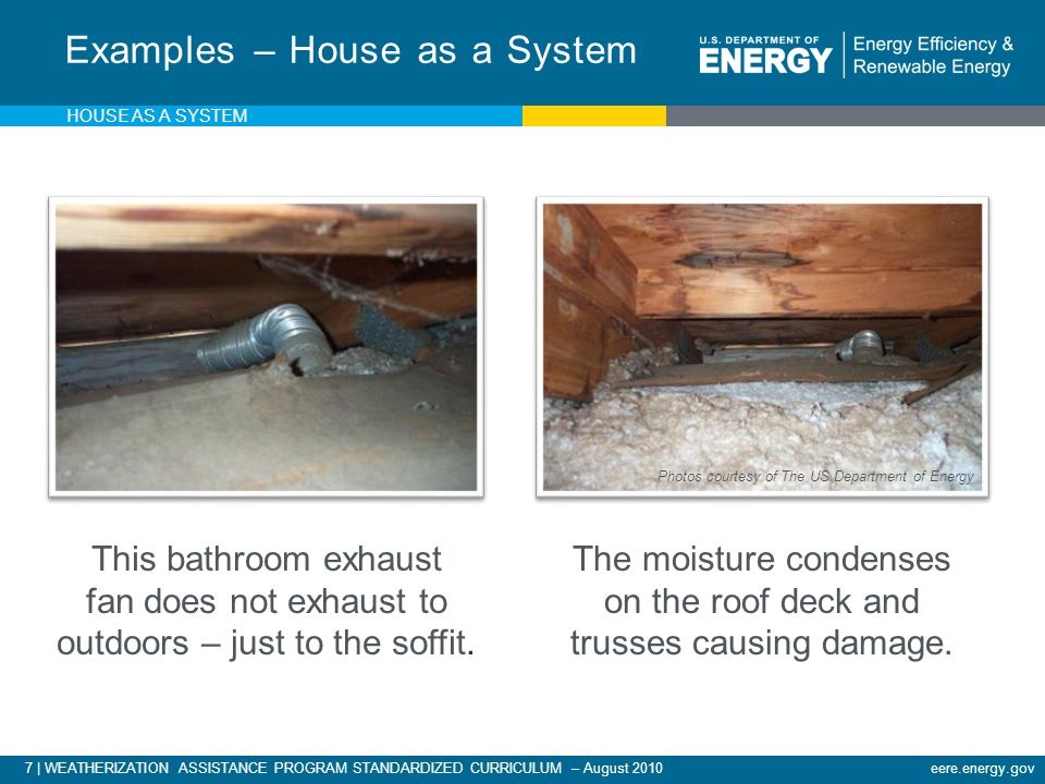 7 | WEATHERIZATION ASSISTANCE PROGRAM STANDARDIZED CURRICULUM – August 2010eere.energy.gov Examples – House as a System This bathroom exhaust fan does not exhaust to outdoors – just to the soffit.