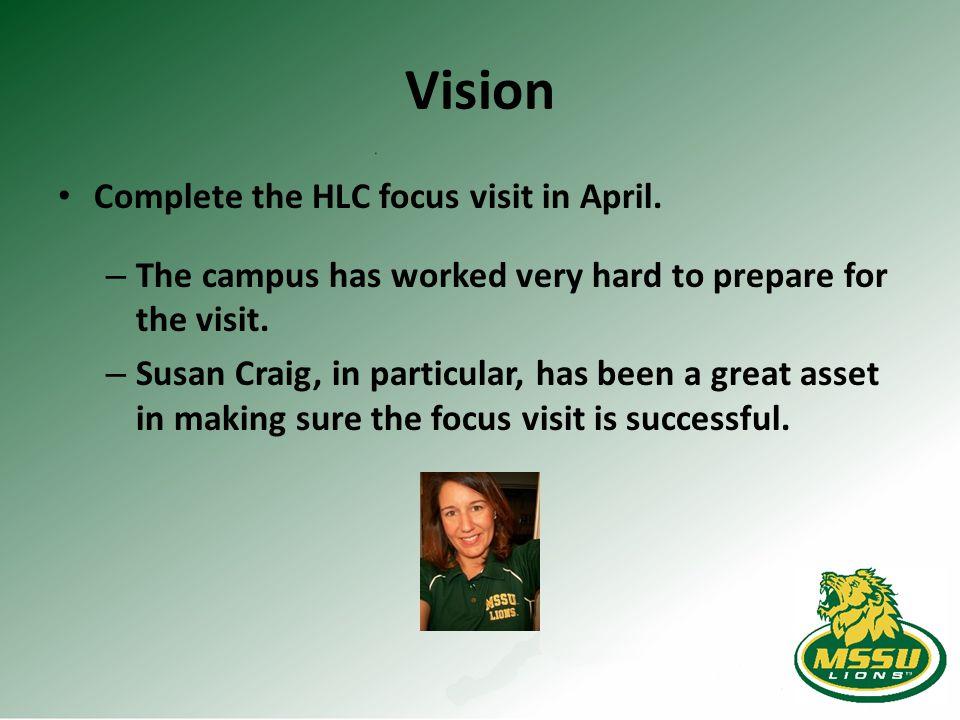 Vision Complete the HLC focus visit in April.