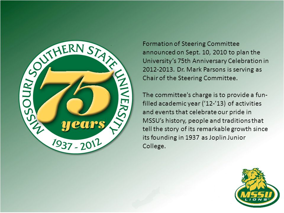 Formation of Steering Committee announced on Sept.