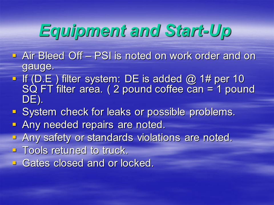 Equipment and Start-Up DE And Cartridge Filters:  They may Look Like This.
