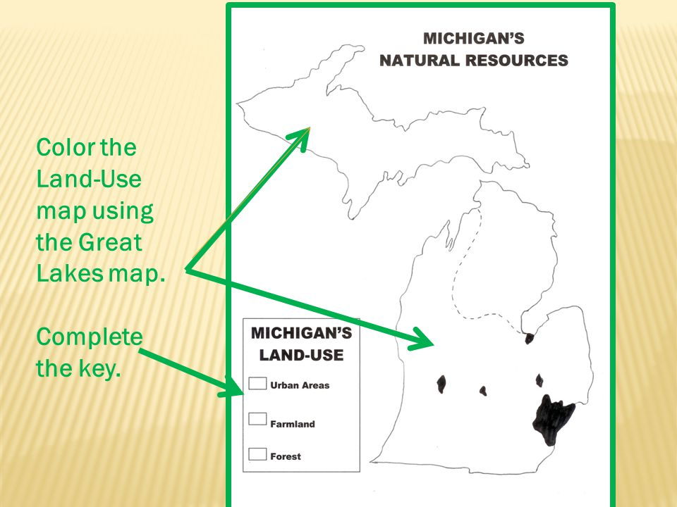 Color the Land-Use map using the Great Lakes map. Complete the key.