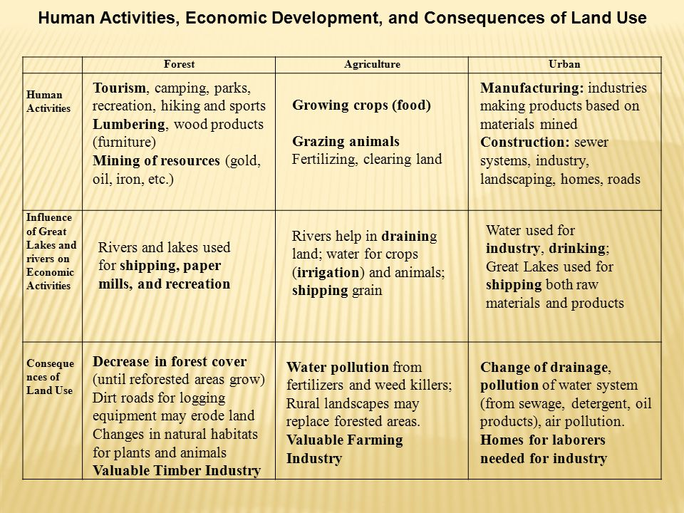 Human Activities, Economic Development, and Consequences of Land Use ForestAgricultureUrban Human Activities Influence of Great Lakes and rivers on Economic Activities Conseque nces of Land Use Tourism, camping, parks, recreation, hiking and sports Lumbering, wood products (furniture) Mining of resources (gold, oil, iron, etc.) Growing crops (food) Grazing animals Fertilizing, clearing land Manufacturing: industries making products based on materials mined Construction: sewer systems, industry, landscaping, homes, roads Rivers and lakes used for shipping, paper mills, and recreation Rivers help in draining land; water for crops (irrigation) and animals; shipping grain Water used for industry, drinking; Great Lakes used for shipping both raw materials and products Decrease in forest cover (until reforested areas grow) Dirt roads for logging equipment may erode land Changes in natural habitats for plants and animals Valuable Timber Industry Water pollution from fertilizers and weed killers; Rural landscapes may replace forested areas.