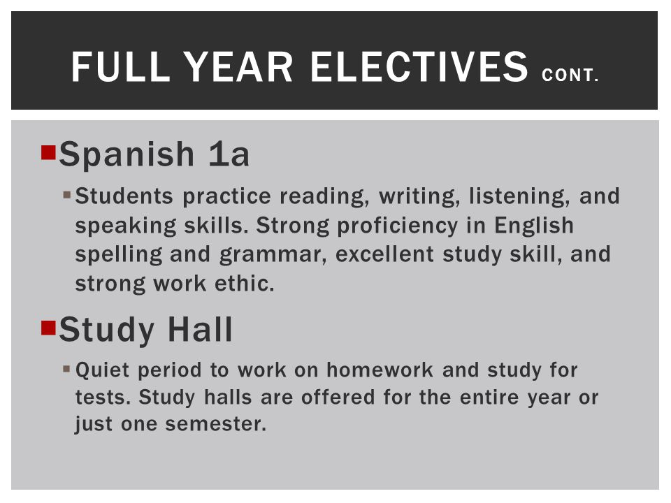  Spanish 1a  Students practice reading, writing, listening, and speaking skills. Strong proficiency in English spelling and grammar, excellent study