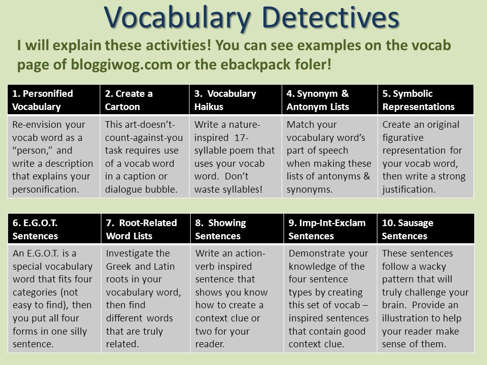 Vocabulary Detectives I will explain these activities.
